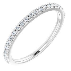 14K White 1/4 CTW Diamond Band for 8x6 mm Oval Ring
