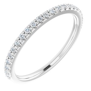 14K White 1/5 CTW Diamond Band for 6x6 mm Cushion Ring