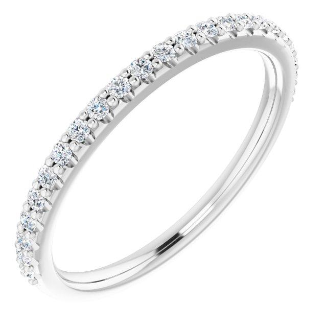 14K White 1/5 CTW Diamond Band for 6x6 mm Cushion Ring