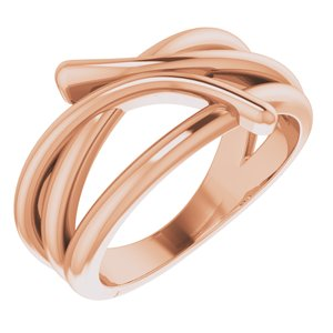 14K Rose Bypass Freeform Ring