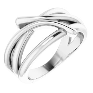 14K White Bypass Freeform Ring