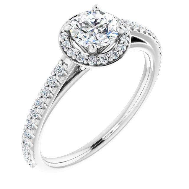 14K White 3/4 CTW Diamond Halo-Style Engagement Ring
