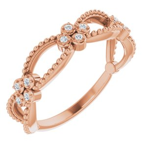 14K Rose .06 CTW Diamond Stackable Beaded Ring