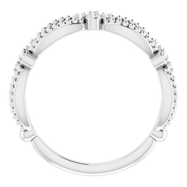 14K White .06 CTW Diamond Stackable Bead Ring
