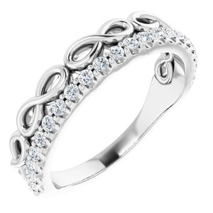 14K White 1/4 CTW Diamond Infinity-Inspired Stackable Ring