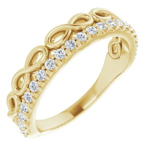 14K Yellow 1/4 CTW Diamond Infinity-Inspired Stackable Ring