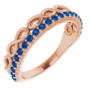 14K Rose Blue Sapphire Infinity-Inspired Stackable Ring