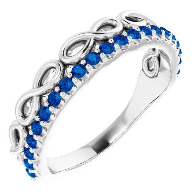 14K White Blue Sapphire Infinity-Inspired Stackable Ring
