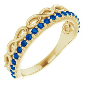 14K Yellow Blue Sapphire Infinity-Inspired Stackable Ring