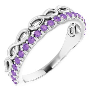 14K White Amethyst Infinity-Inspired Stackable Ring
