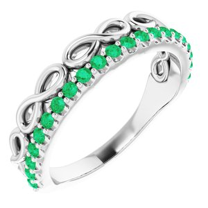 14K White Lab-Created Emerald Stackable Infinity-Inspired Heart Ring