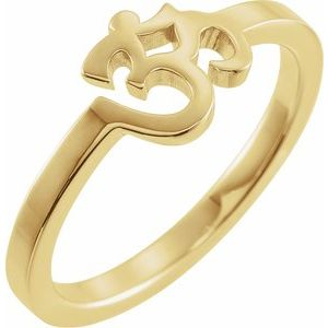 14K Yellow Petite Om Ring