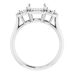 Three-Stone Halo-Style Ring