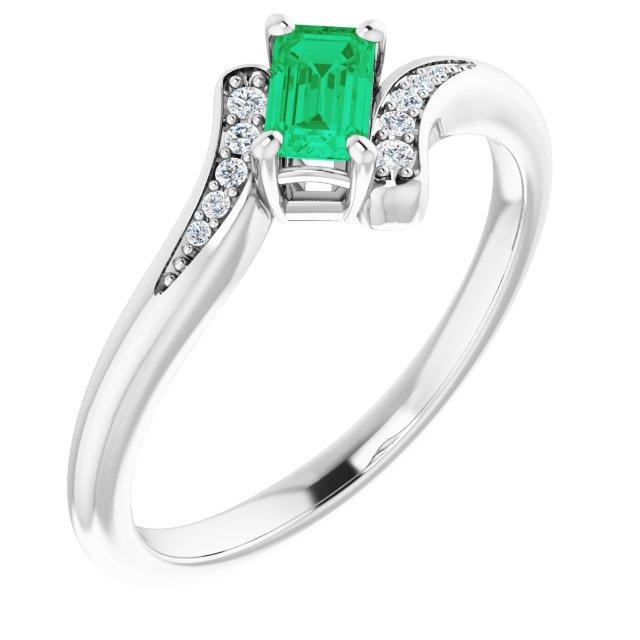 14K White Chatham® Created Emerald & .04 CTW Diamond Ring