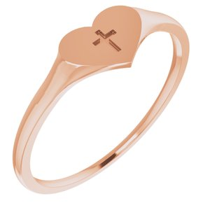 14K Rose Heart & Cross Ring Size 5