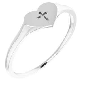 Sterling Silver Heart & Cross Ring Size 3