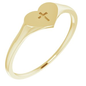 14K Yellow Heart & Cross Ring Size 3