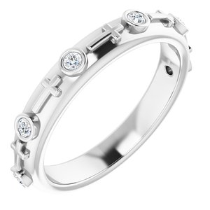 Sterling Silver 1/8 CTW Diamond Cross Ring