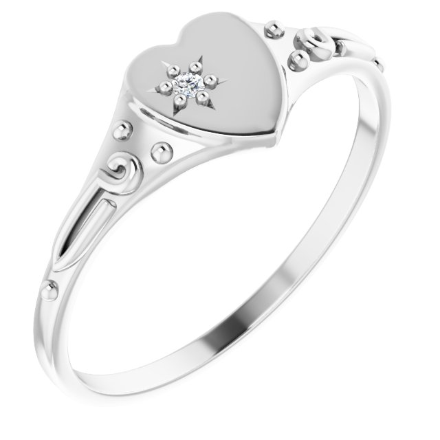 Sterling Silver .01 Diamond Heart Ring Size 3