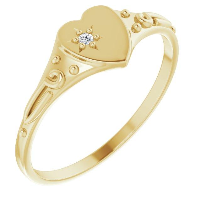14K Yellow .01 Diamond Heart Ring Size 3