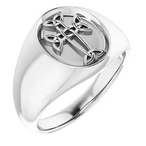 14K White Celtic-Inspired Cross Ring