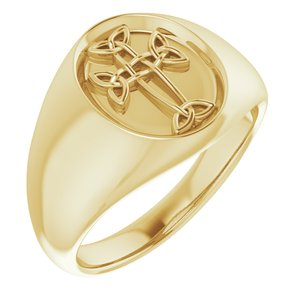 14K Yellow Celtic-Inspired Cross Ring