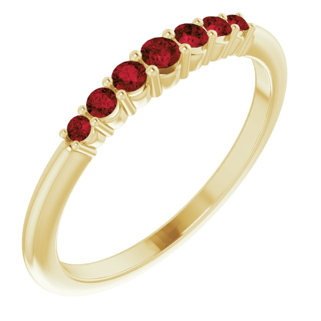 14K Yellow Mozambique Garnet Stackable Ring