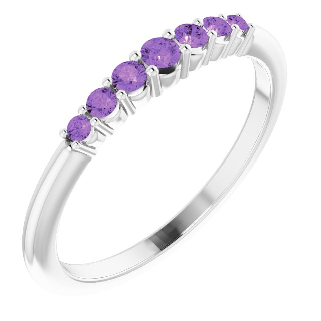 14K White Amethyst Stackable Ring