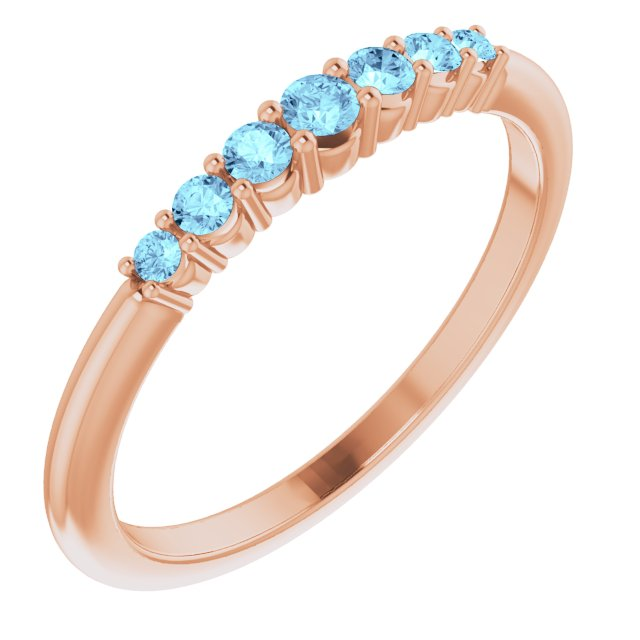 14K Rose Aquamarine Stackable Ring