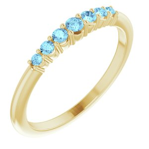 14K Yellow Aquamarine Stackable Ring