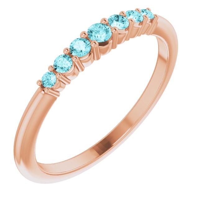 14K Rose Blue Zircon Stackable Ring