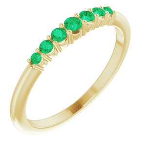 14K Yellow Emerald Stackable Ring