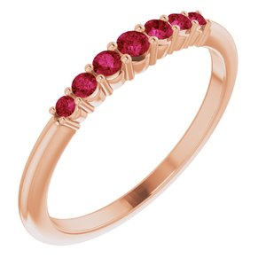 14K Rose Ruby Stackable Ring