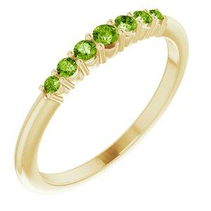 14K Yellow Peridot Stackable Ring