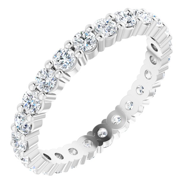 14K White 1 1/5 CTW Diamond Eternity Band Size 6