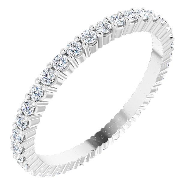 14K White 1/2 CTW Diamond Eternity Band Size 6
