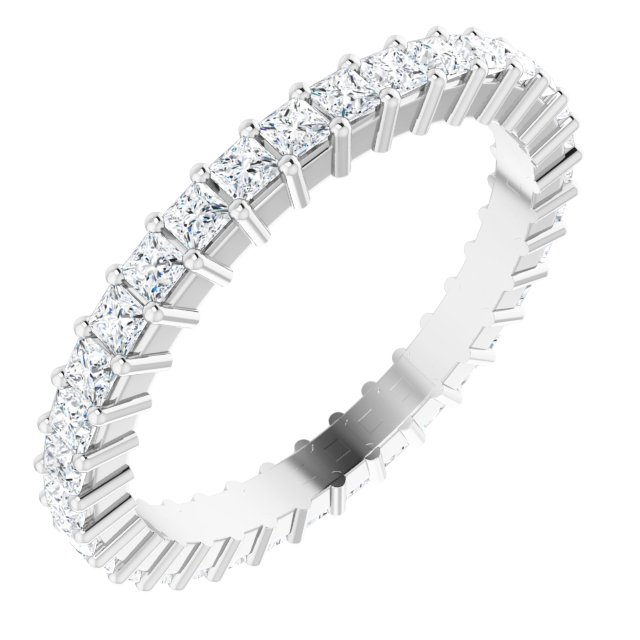 14K White 1 1/5 CTW Diamond Square Eternity Band Size 7