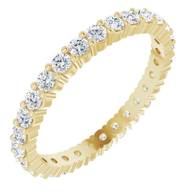 14K Yellow 7/8 CTW Diamond Round Eternity Band Size 7