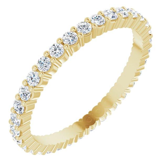14K Yellow 5/8 CTW Diamond Round Eternity Band Size 7