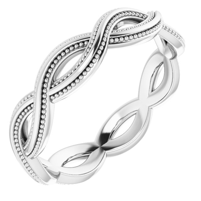 14K White 4.55 mm Infinity-Inspired Band Size 7