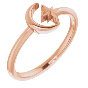 14K Rose Crescent Moon & Star Negative Space Ring
