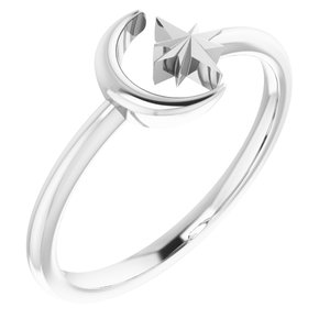 14K White Crescent Moon & Star Negative Space Ring