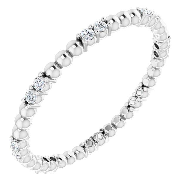 14K White 1/8 CTW Diamond Beaded Eternity Band Size 7