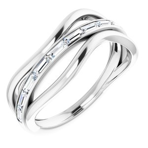 14K White 1/3 CTW Diamond Freeform Ring Mounting