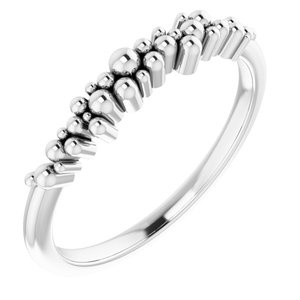 14K White Stackable Scattered Bead Ring