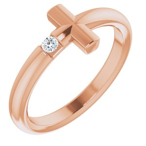 14K Rose .05 CTW Diamond Sideways Cross Ring