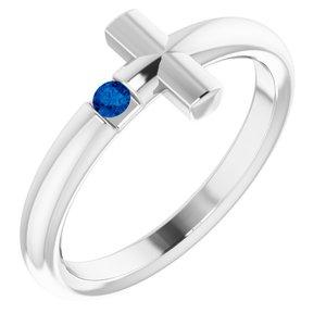 14K White Blue Sapphire Sideways Cross Ring