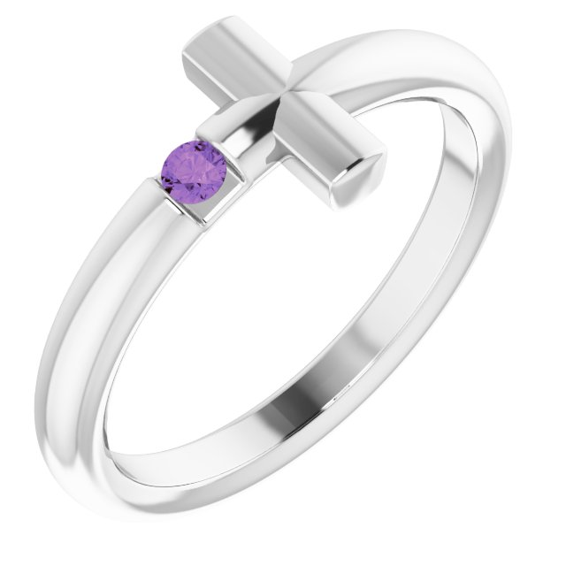 Sterling Silver Amethyst Sideways Cross Ring