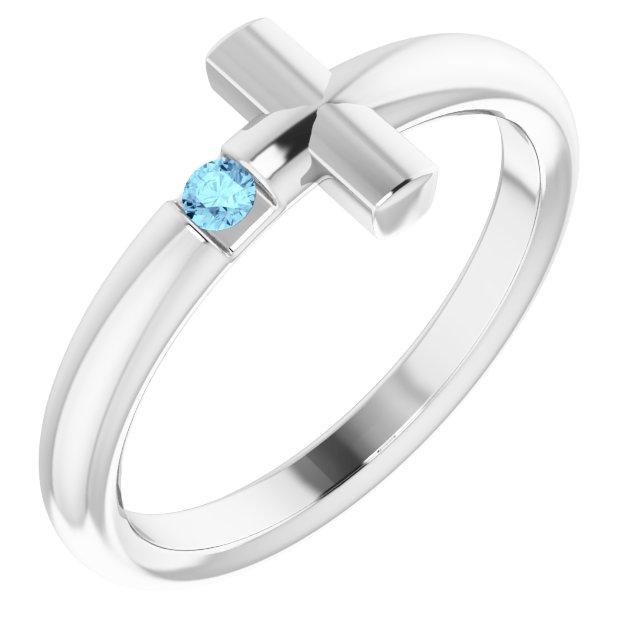 Sterling Silver Aquamarine Sideways Cross Ring