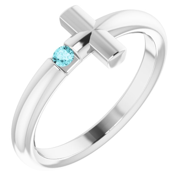 Sterling Silver Blue Zircon Sideways Cross Ring